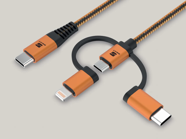 3-in-1-Kabel zum Laden und Datentransfer USB Typ C