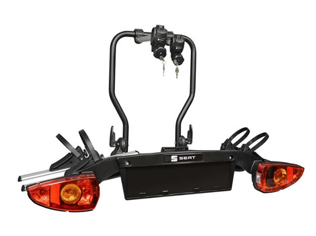Tow bar bicycle carrier with SEAT logo