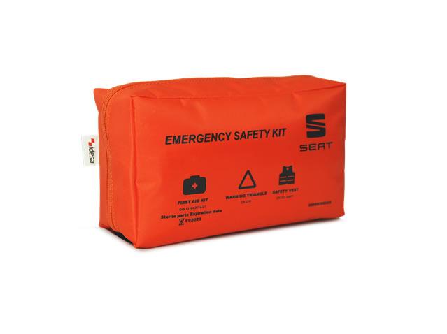 Sigurnosni paket (reflektirajući prsluk + sklopivi mini sigurnosni trokut + kutija prve pomoći)