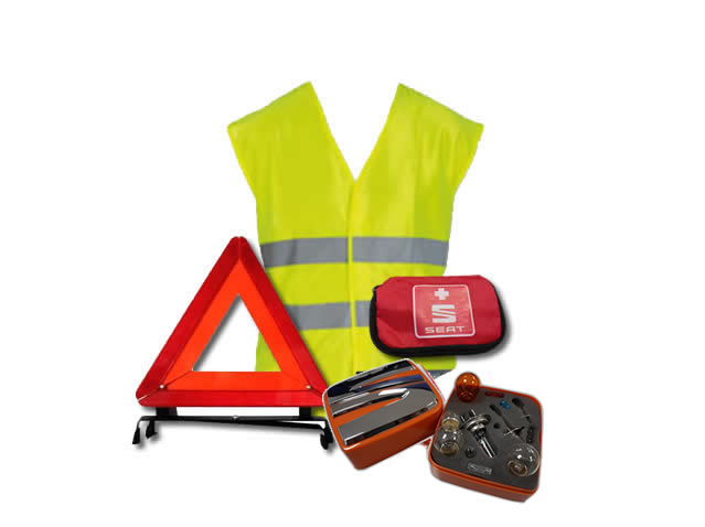 Safety pack (triangle + vest + first-aid kit + H4 lamps)