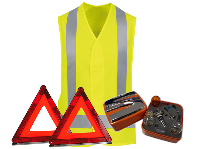 Safety pack (triangles + vest + H1 + H7 lamp case)