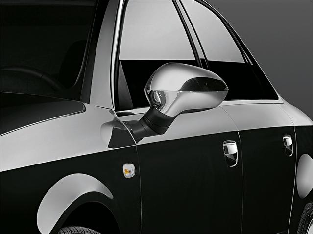 Matt chrome rear-view mirror frame set