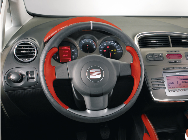 Red leather steering wheel without remote control