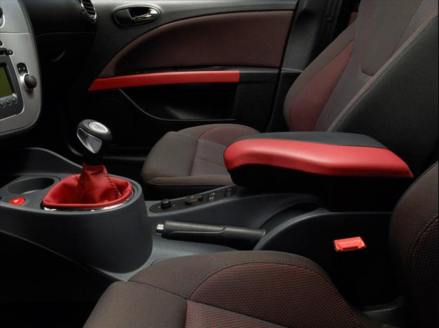 Red leather interior trim