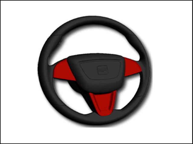 Set of red steering wheel trim