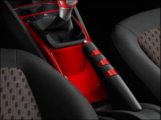 Red leather handbrake cover