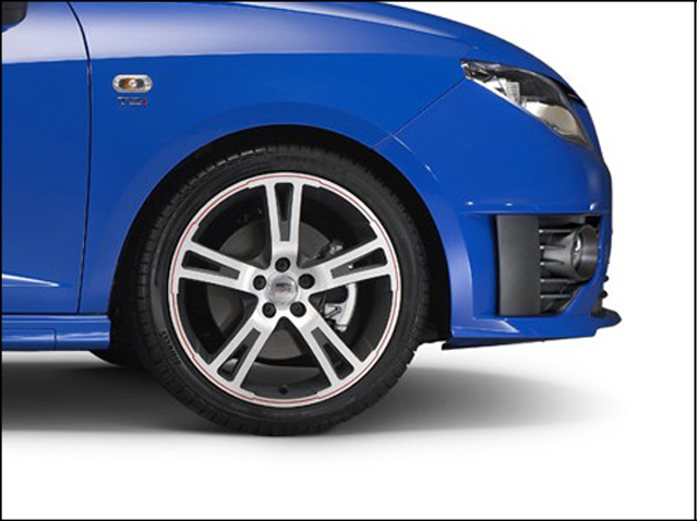 """17"""" alloy wheel, red anthracite and polished silver"""