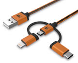 3 in 1 MFI cable for charging and data (Apple)